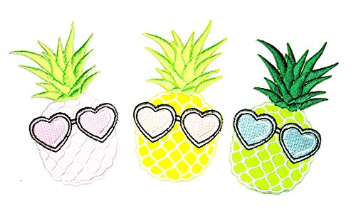 t of 3 Fantasy Pineapple Fruit with Heart Glasses Cartoon Patch for Clothes Backpacks T-Shirt Jeans Skirt Vests Scarf Hat Bag Iron On Appliques Embroidered ()