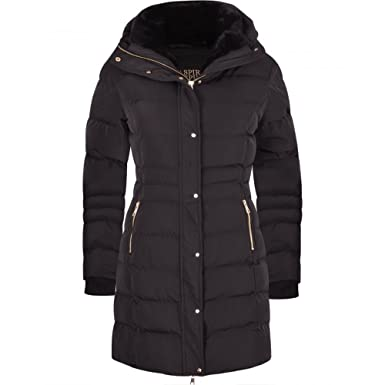 Womens Designer Winter Lined Parka Quilted Coat Fur Collar Hooded