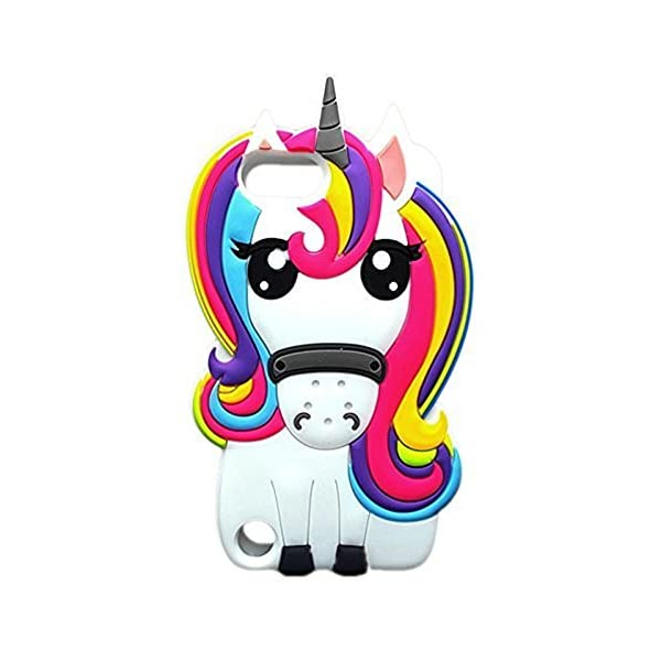 Jewby Cute Rainbow Unicorn iPhone 7/8 Case, 3D Cute Cartoon Animal Soft Silicone Rubber Case for iPhone7/ 8 with a Screen Protector 3