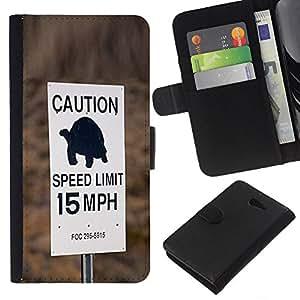 KingStore / Leather Etui en cuir / Sony Xperia M2 / Tortuga velocidad lenta Conductor Límite de coches;