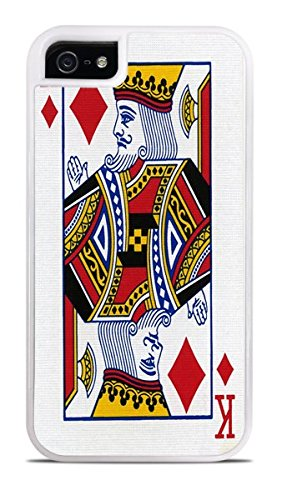 King of Diamonds Playing Card White 2-in-1 Protective Case with Silicone Insert for Apple iPhone 5 / 5S (Protective Silicone Shuffle Case)