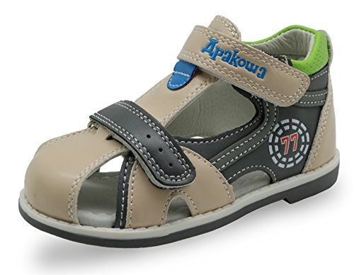 Apakowa Boy's Double Adjustable Strap Closed-Toe Sandals (Toddler) Beige (Best Mulch For Walking On)