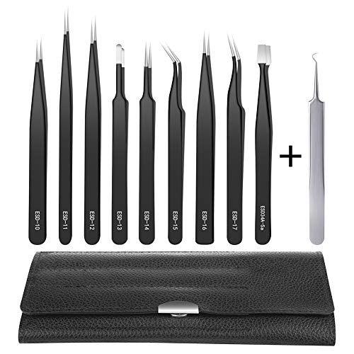 Anti-Static Precision Tweezers Set,10 Pack ESD Tweezer Kit Stainless Steel Tweezers, Non-magnetic Curved Tweezers for Craft, Jewelry, Electronics Repair, Soldering, Laboratory Work