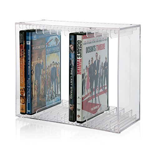 Stackable Clear Plastic DVD Holder - holds 14 standard DVD cases - Plastic Rack Case