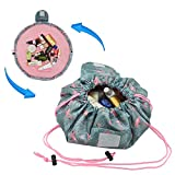Adigow Lazy Drawstring Makeup Bag Magic Cosmetic Organizer Pouch Waterproof Travel Toiletry Bags For Womens,Flamingo
