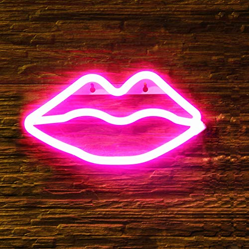 OYE HOYE Decorative LED Lip Shaped Neon Night Light, Neon Sign Operated by Battery/USB Idea for Home Decoration,House Bar Pub Hotel Beach Recreational, Valentine's Day, Christmas]()