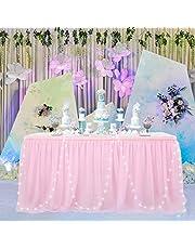 HBBMAGIC Tule tafelrok LED tafelkleed tutu tafelrok party decoratie voor bruiloft, verjaardag, snoepbar, Kerstmis (183 x 76 cm, roos, met led)