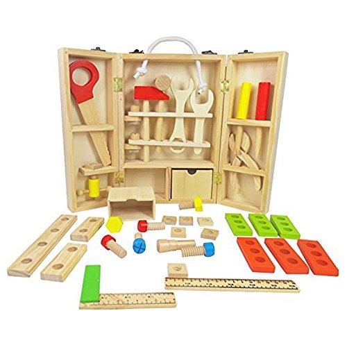 iPuzzle-30Pcs-Wood-Carpenters-Set-Wood-Work-bench-Wooden-Workshop-Tool-Storage-Construction-Pretend-Toy-Set