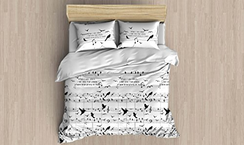 Music Bedding Set, Special Design Melody Note Birds Themed Full/Queen Size Duvet Cover Set with Fitted Sheets, Black and White Bed Set, (7 Pcs)