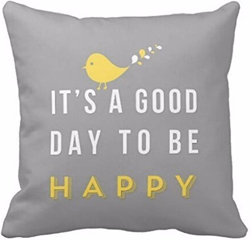 Amazon Com 2018 Pillow Cover Sexyp Yellow Bird Letter Square Throw Pillow Case Cushion Cover Home Decor Gray 45cm45cm Home Kitchen