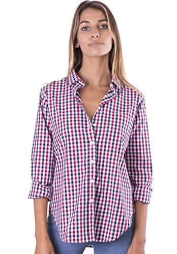 CAMIXA Women's Gingham Shirt Checkered Casual Long Sleeve Button Down Plaid Top XXL Blue Red