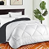 Twin Comforter Soft Quilted Down Alternative Duvet Insert with Corner Tabs Summer Cooling 2100 Series,Luxury Fluffy Reversible Hotel Collection,Hypoallergenic for All Season,White/Gray,64 x 88 inches