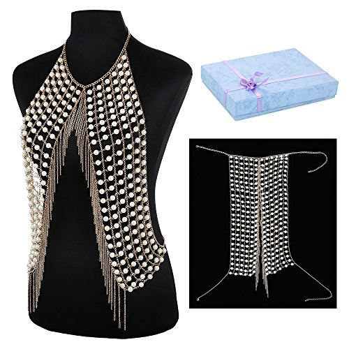 DOTASI Sexy Metal Tassel Chain Women Crop Tops Handmade T Shirts Pearl Stitching Beading Tank (Chain Link T-shirt)