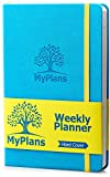 MyPlans Undated Weekly Planner for Men and Women - Goal and Productivity Planner - Hardcover, Faux Leather, Turquoise