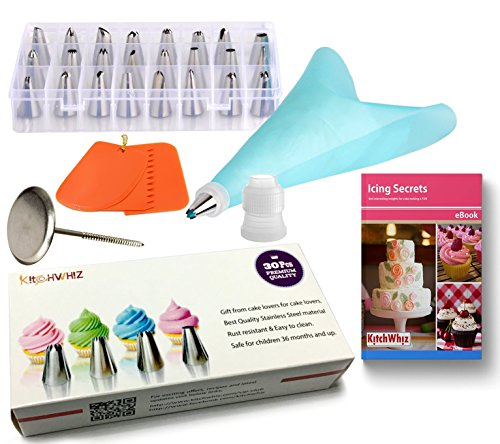 Cake Decoration Tips Set - ONLY 30pcs cake decoration kit including Reusable silicone icing bag, coupler, cake flower nail, Cake Scrapers and storage case. Stainless Steel Piping/Dispenser Nozzle Kit (Cake Decorating Quilt compare prices)