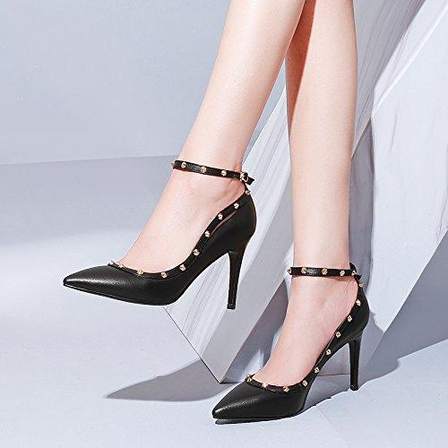 Talon Unique black Forte La Chaussures Légèrement Vide Femme ZHUDJ Haut Vers Coupé Talon Tête Amende Printemps Côté 1qxwZPR