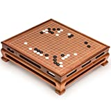 Go Game Set with Go Floor Board (0.4 Inch Thick Rosewood) and Single Convex Yunzi Stones