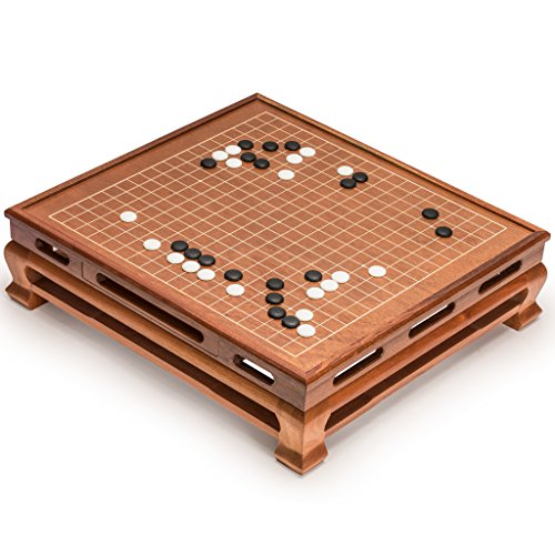 Floorboard Set (Go Game Set with Go Floor Board (0.4 Inch Thick Rosewood) and Single Convex Yunzi Stones)