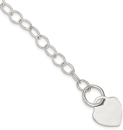 "925 Sterling Silver Linked Polished Heart Bracelet 7.5/"" with Heart Clasp"
