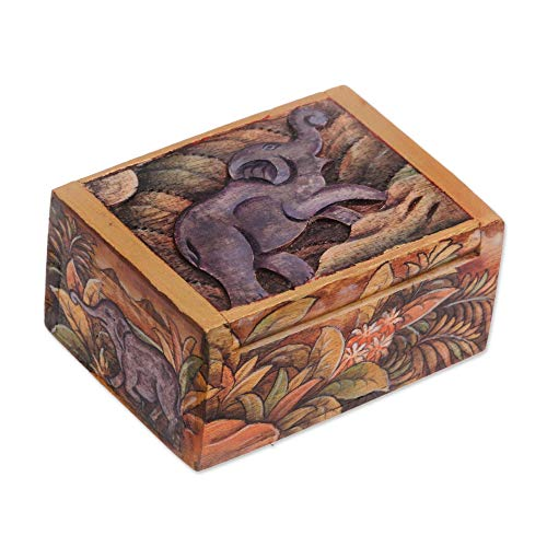 NOVICA Wood Elephant Jewelry Box, Multicolor, Sumatran Elephant'