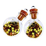 LEFV 12pcs Tiny Miniature Decorative Glass Vials Cork Message Bottles Charms Jars with Corks Necklace Pendants with Star Spangle and Eye Screws for Jewelry Making Small Mini Size