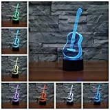 Guitar 3D Lamp Night Light Table Desk Lamps,7 Color Changing Touch Lights with Acrylic Flat & ABS Base & USB Charger