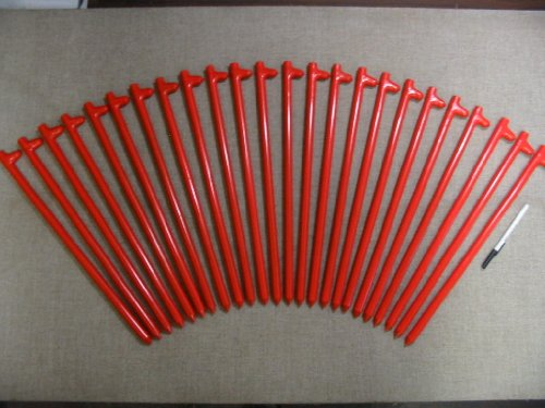 A 24 Pack of 18'' Long Heavy Duty Steel Tent Stakes or Tent Anchors by Monk Industries