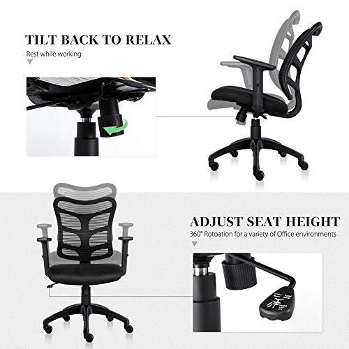 Ergonomic Office Chair Lumbar Support Mesh Chair Computer Desk Task Chair with Armrests by Smugdesk (Image #4)