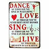 NEWNESS WORLD DANCE LOVE SING LIVE Vintage Metal Tin Signs Plaque Plate Wall Art Painting for Home Coffee Pub Club Decoration,20 by 30cm,1pc