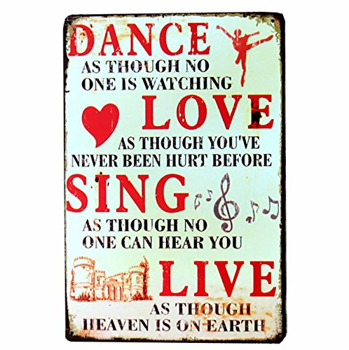 NEWNESS WORLD DANCE LOVE SING LIVE Vintage Metal Tin Signs Plaque Plate Wall Art Painting for Home Coffee Pub Club Decoration,20 by 30cm,1pc by NEWNESS WORLD