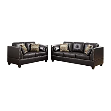 Amazon.com: Benjara BM168733 Bonded Leather Sofa Set, Brown ...