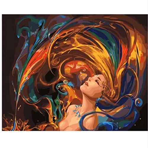 XIGZI Delphine Und Meerjungfrauen DIY Malen Nach Zahlen Moderne Wandkunst Bild Handgemalte Ölgemälde Einzigartiges Geschenk nach Hause 40X50 cm,Mit Holzrahmen,E B07MYBBSZY | Schön