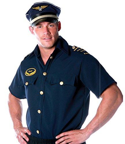 Underwraps Costumes Men's Pilot Costume - Shirt -Plus, Navy, XX-Large]()
