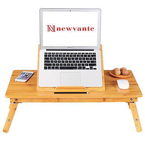 Large Size Laptop Tray Desk NNEWVANTE Bamboo Adjustable Table with USB Fan2 Foldable Breakfast Serving Right-left Hand Bed Tray (Breakfast Table Size)