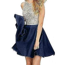 Short Satin Beading Open Back Prom Dresses