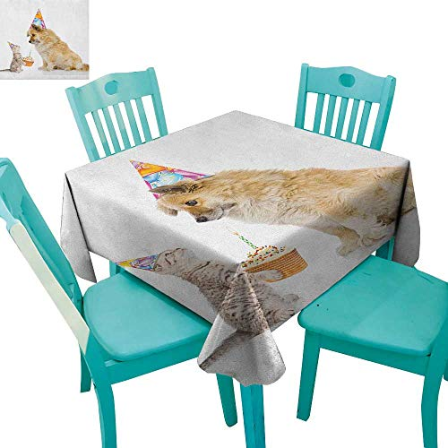 longbuyer Kids Birthday,Printed Tablecloth,Cat and Dog Domestic Animals Human Best Friend Party with Cupcake and Candle,70