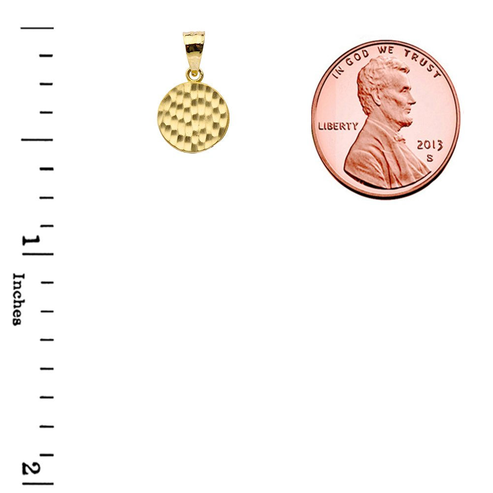 Fine 14k Yellow Gold Love Hammered Round Charm Pendant Necklace and Earring Set, 20'' by Claddagh Gold (Image #4)