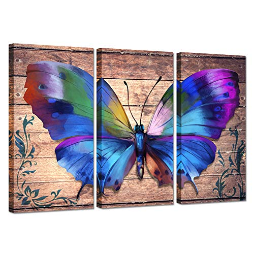 iHAPPYWALL 3 Pieces Canvas Wall Art Colorful Butterfly On Vintage Wood Background Abstract Botanic Animal Canvas Painting Artwork for Home Bedroom Decor Stretched Framed Ready to Hang