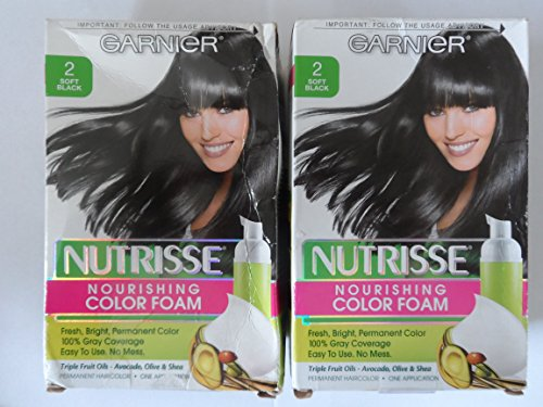 Garnier Nutrisse, Nourishing Color Foam, 2, Soft Black, (Pack of 2) (Garnier Hair Foam Color)