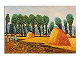World Art TW60527 Oil Painting Haystacks 90x60x2 cm Size: 36 x 24 x 1 Inch
