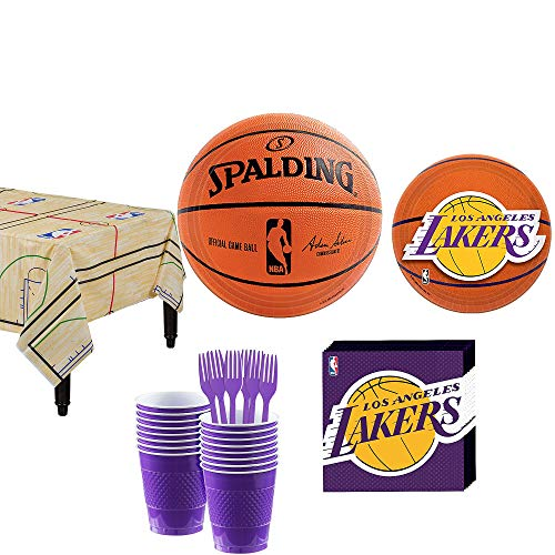 (Party City Los Angeles Lakers Party Kit and Supplies for 16 Guests, Includes Table Cover, Plates, Napkins and)