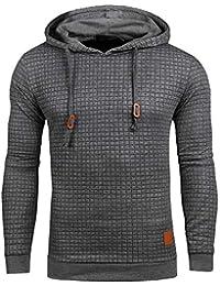 Mens Pullover Hoodie Long Sleeve Hooded Sweatshirt Square Pattern