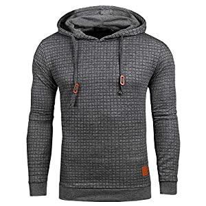 Satankud Mens Pullover Hoodie Long Sleeve Hooded Sweatshirt Square Pattern