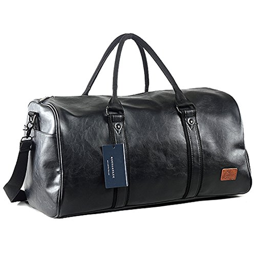 Weekender Oversized Travel Duffel Bag With Shoe Pouch, Leather Carry On Bag (Black Leather Bag)