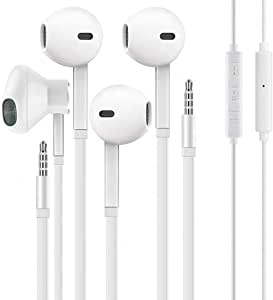 3.5mm in-Ear Wired Noise Cancellation Earbuds/Earphones/Headphones with Remote & Micphone Compatible with iPhone 6s plus/6/5s/5c/Pad/S10 Android All 3.5 mm Audio Devices (2 Pack)-White