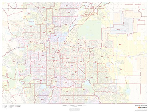 Area Wall Map - Denver, Colorado Zip Codes - 48