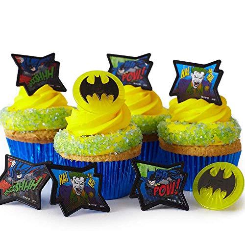 (24) Batman Cupcake Rings Kit - Batman Symbol Image Joker Toppers (30) Blue Foil Cupcake Liners (4oz) Blue Sugar -