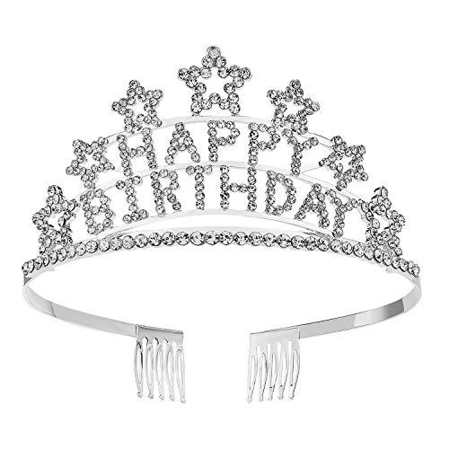 SWEETV Crystal Birthday Tiara Rhinestone Princess Crown Happy Birthday Crowns, Clear