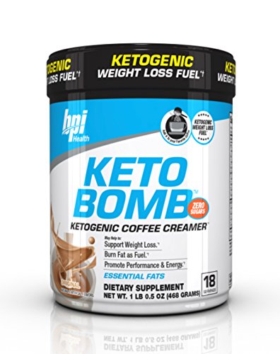BPI Sports Keto Bomb Ketogenic Creamer for Coffee and Tea with MCT Oil, Saffron and Avocado Oil Powder to Support Weight Loss, Original Flavor, 18 Servings