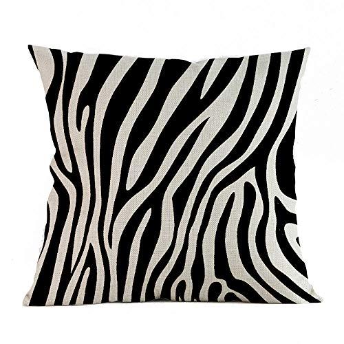 (MaxFox Zebra Printed Throw Pillow Cover Square Linen Blend Pillow Case Cushion for Office Home Room Car Decor (B))